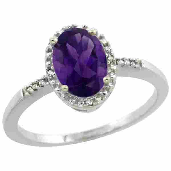 Natural 1.2 ctw Amethyst & Diamond Engagement Ring 14K
