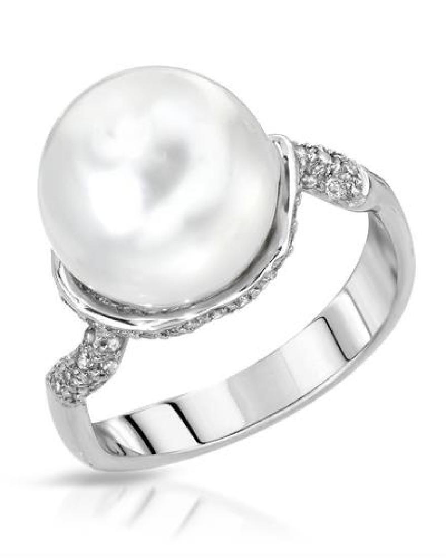 10.5 CTW Pearl & Diamond Ring 14K White Gold -