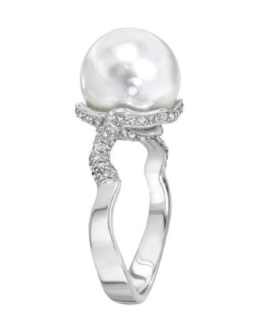 10.5 CTW Pearl & Diamond Ring 14K White Gold - - 2