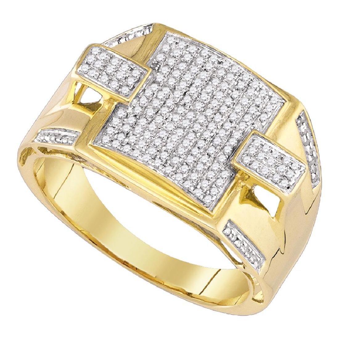 0.45 CTW Mens Pave-set Diamond Square Cluster Ring 10KT