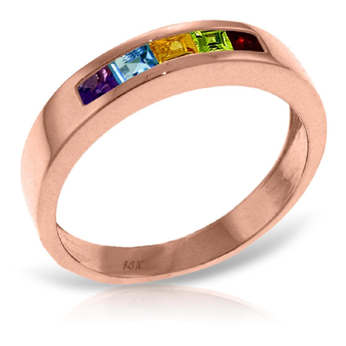 Genuine 0.60 ctw Multi-gemstones Ring Jewelry 14KT Rose