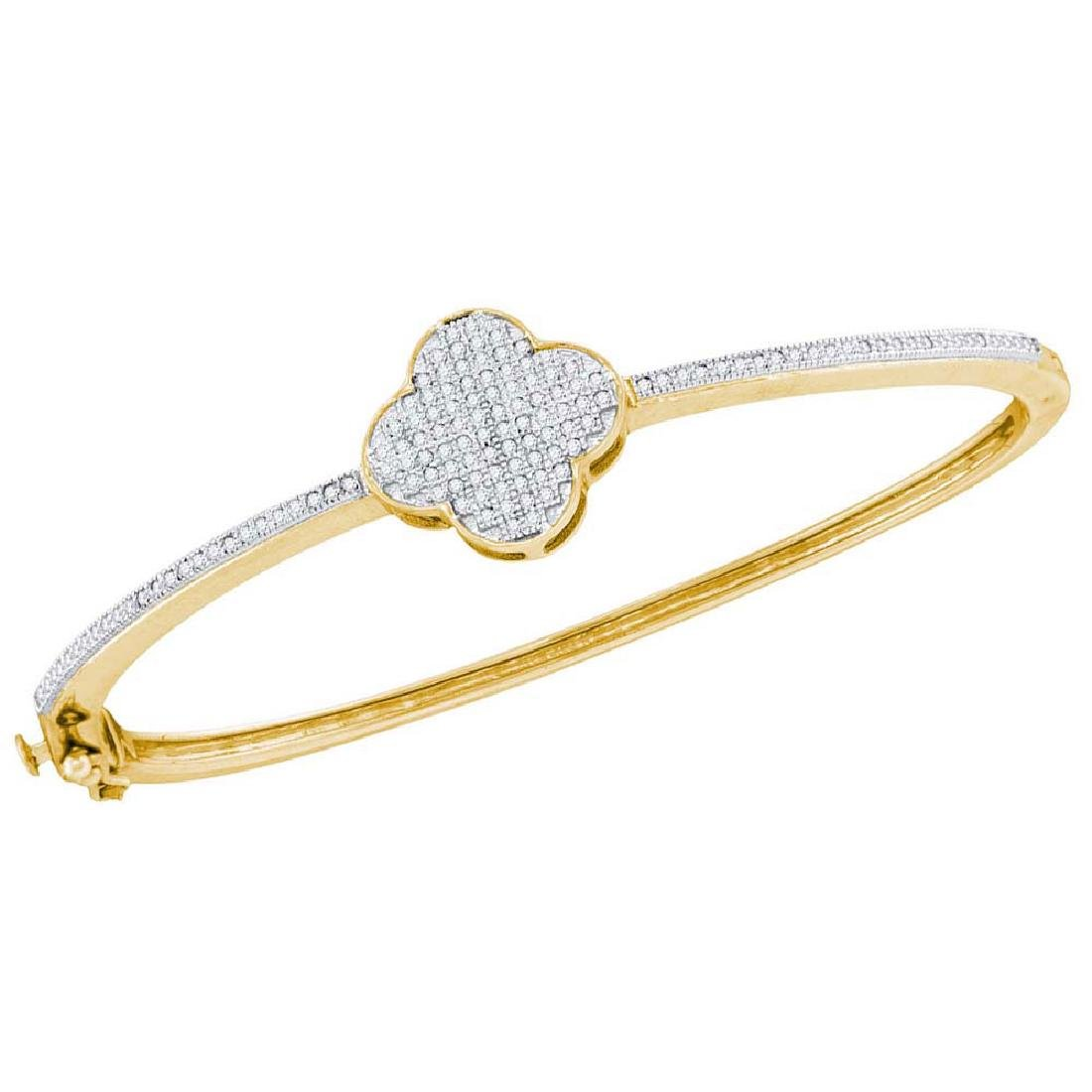 0.40 CTW Diamond Cluster Bangle Bracelet 10KT Yellow