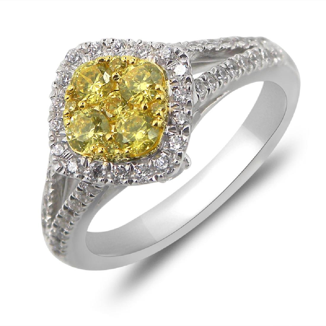 1.02 CTW Diamond & Yellow Diamond Ring 14K 2Tone Gold -