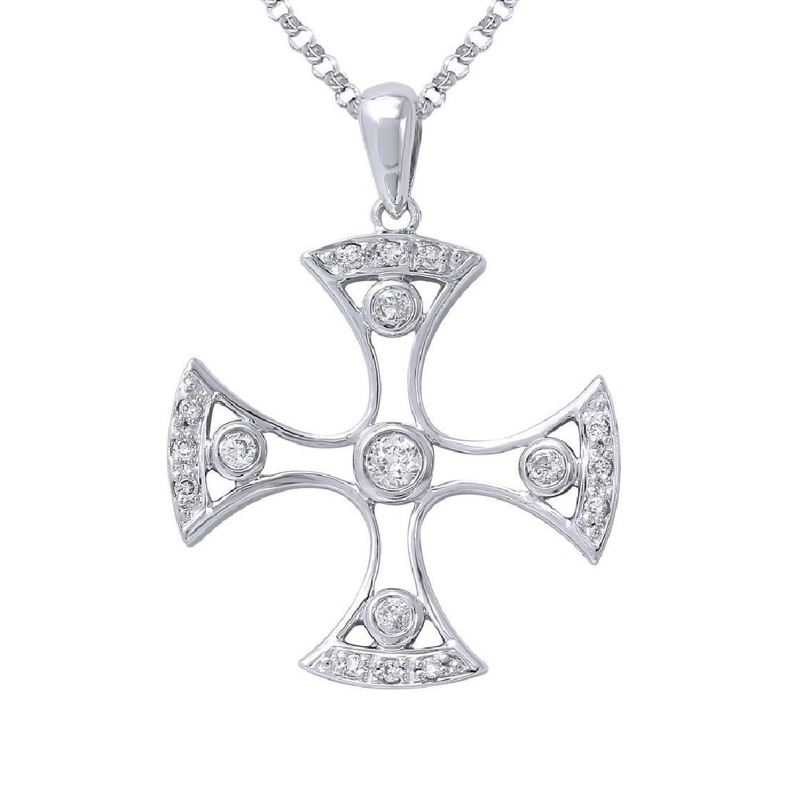 0.18 CTW Diamond Necklace 14K White Gold - REF-24W3H