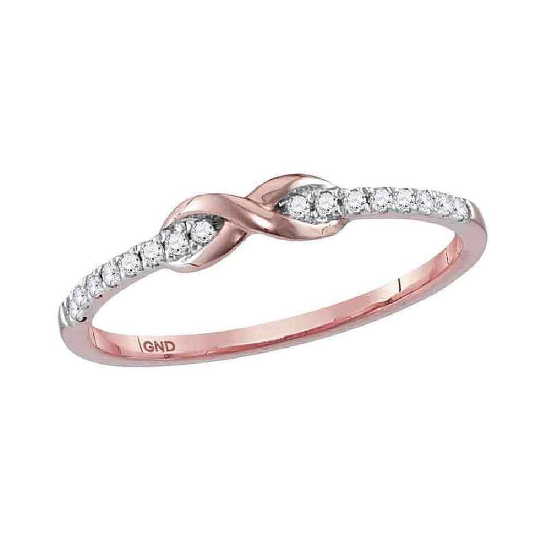 0.11 CTW Diamond Infinity Knot Stackable Ring 10KT Rose