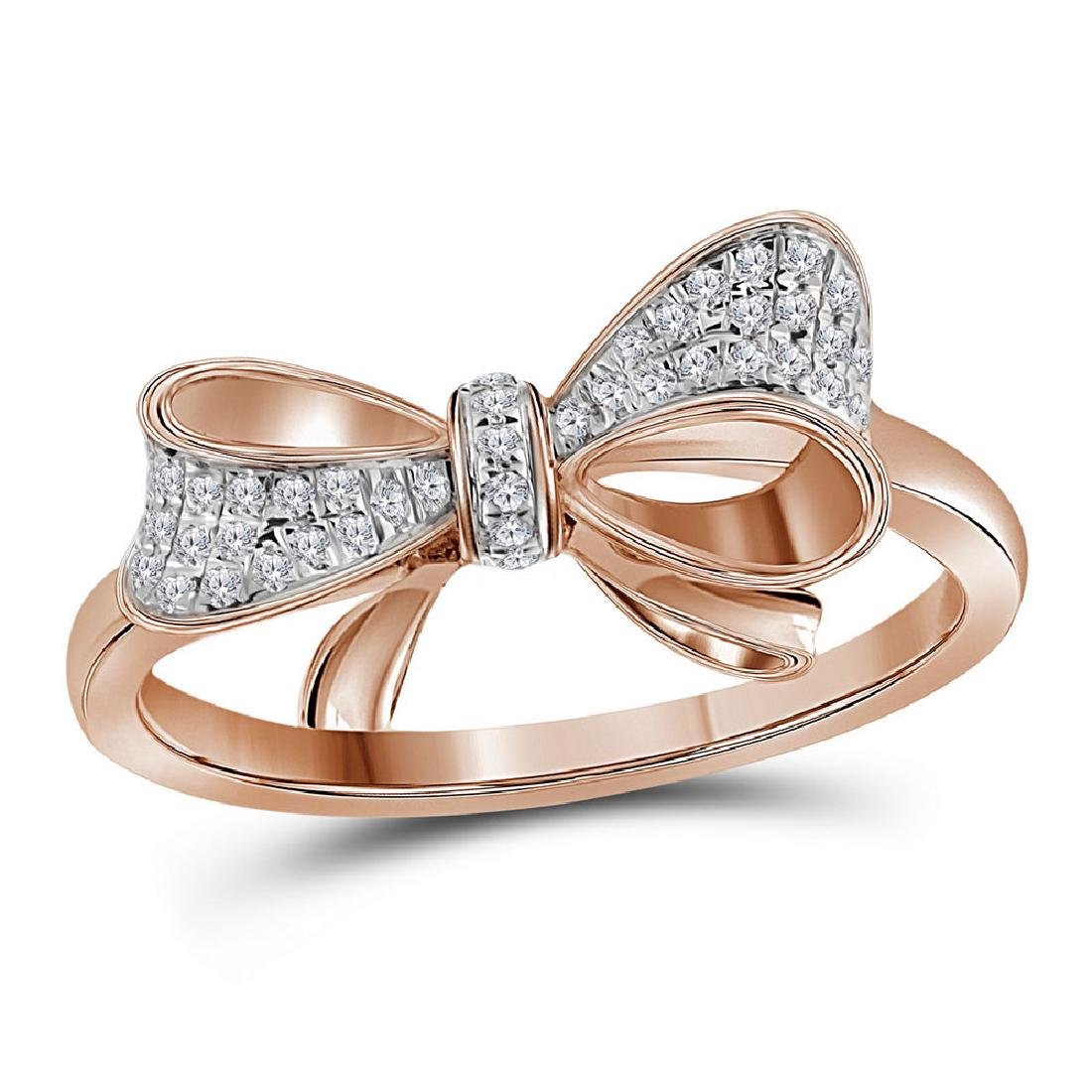 0.07 CTW Diamond Cluster Ribbon Knot Bow Ring 10KT Rose