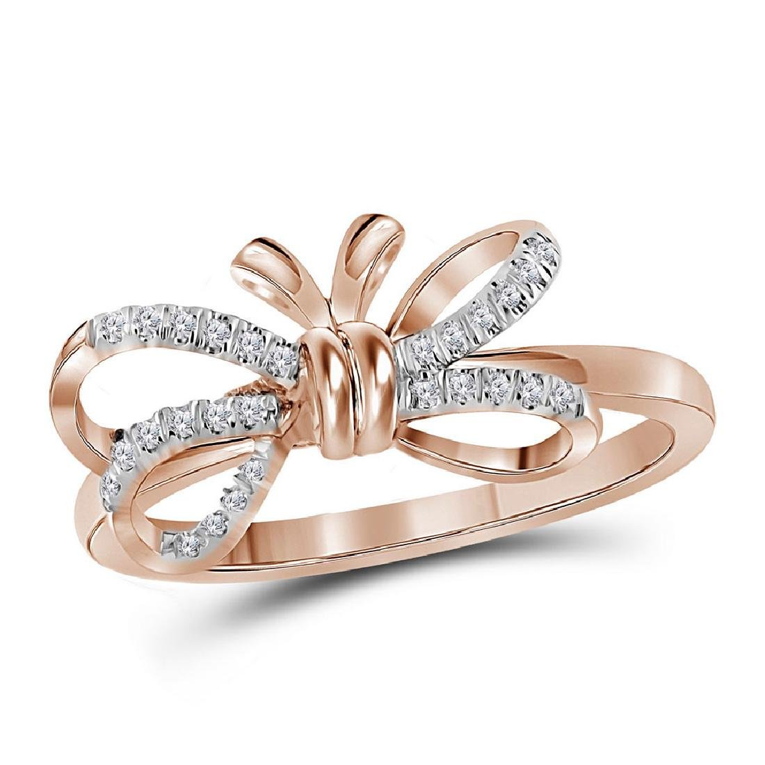 0.13 CTW Diamond Ribbon Bow Knot Ring 10KT Rose Gold -