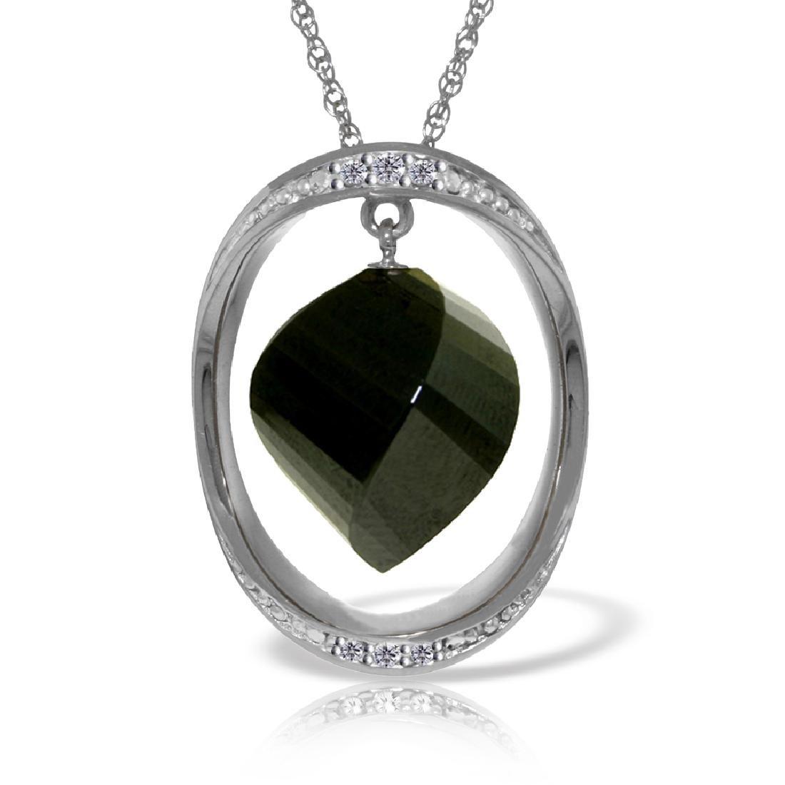 Genuine 15.6 ctw Black Spinel & Diamond Necklace