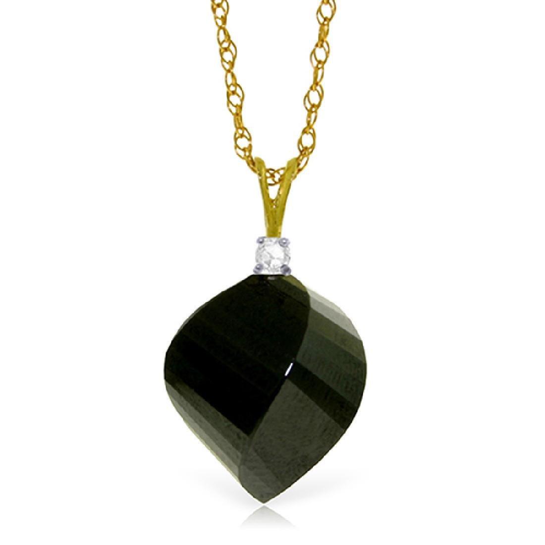 Genuine 15.55 ctw Black Spinel & Diamond Necklace