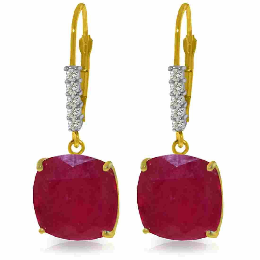 Genuine 13.65 ctw Ruby & Diamond Earrings Jewelry 14KT
