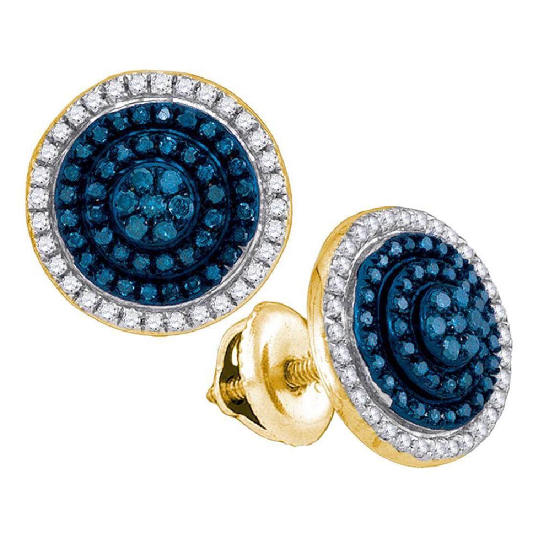 0.55 CTW Blue Color Diamond Cluster Earrings 10KT