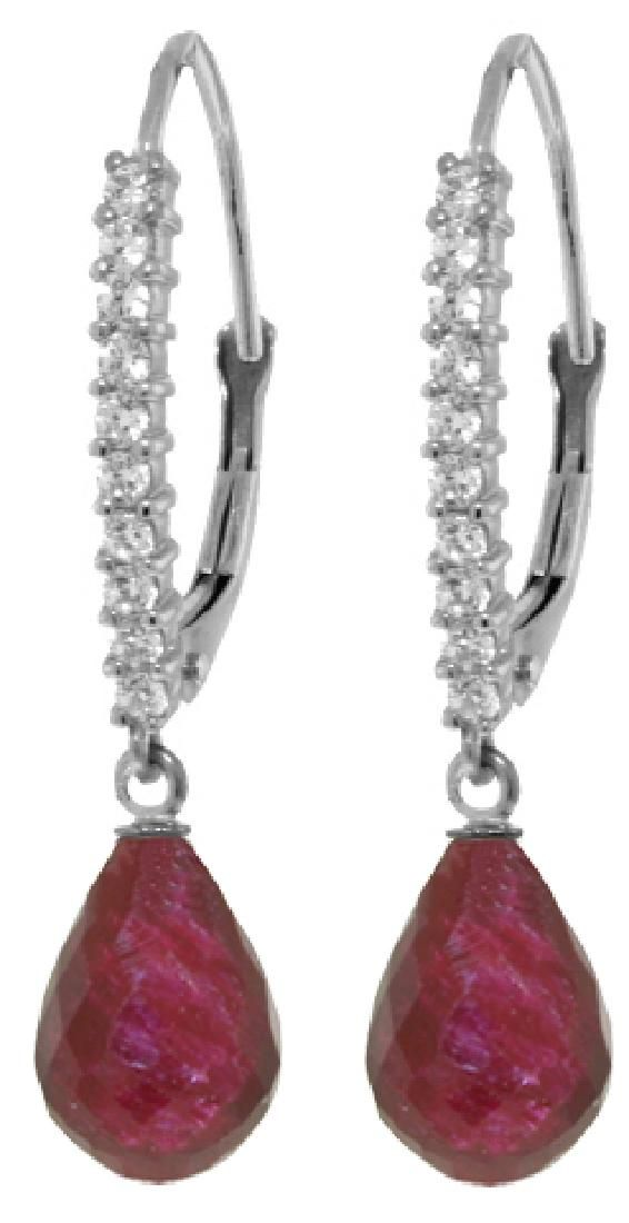 Genuine 6.9 ctw Ruby & Diamond Earrings Jewelry 14KT