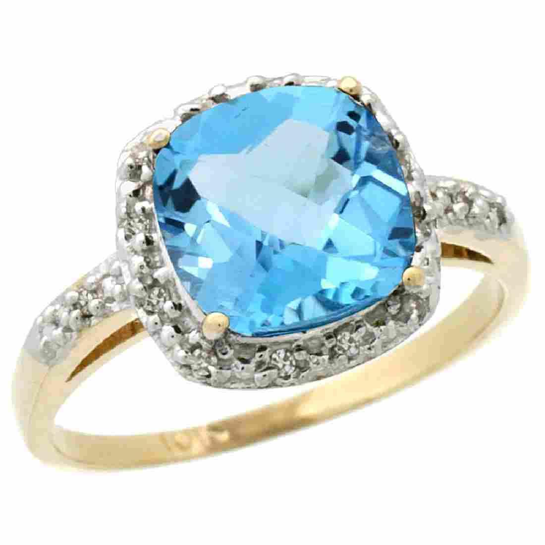 Natural 3.92 ctw Swiss-blue-topaz & Diamond Engagement