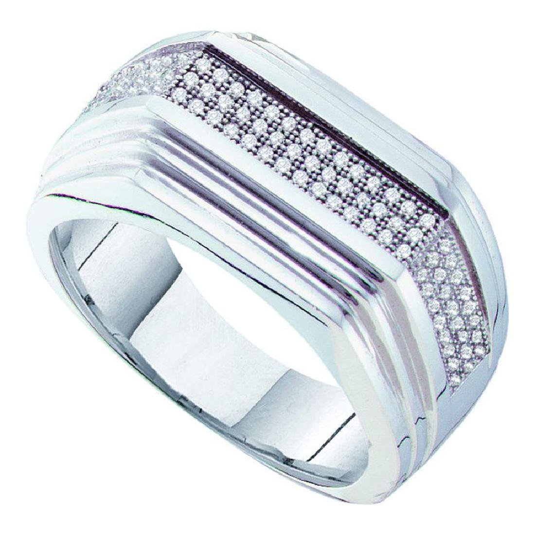 0.30 CTW Mens Pave-set Diamond Ridged Flat Ring 10KT