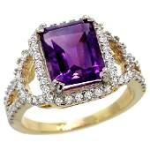 Natural 3.08 ctw amethyst & Diamond Engagement Ring 14K