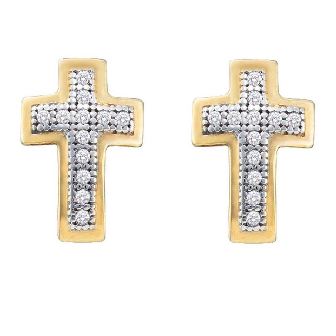 0.10 CTW Diamond Small Cross Screwback Earrings 10KT