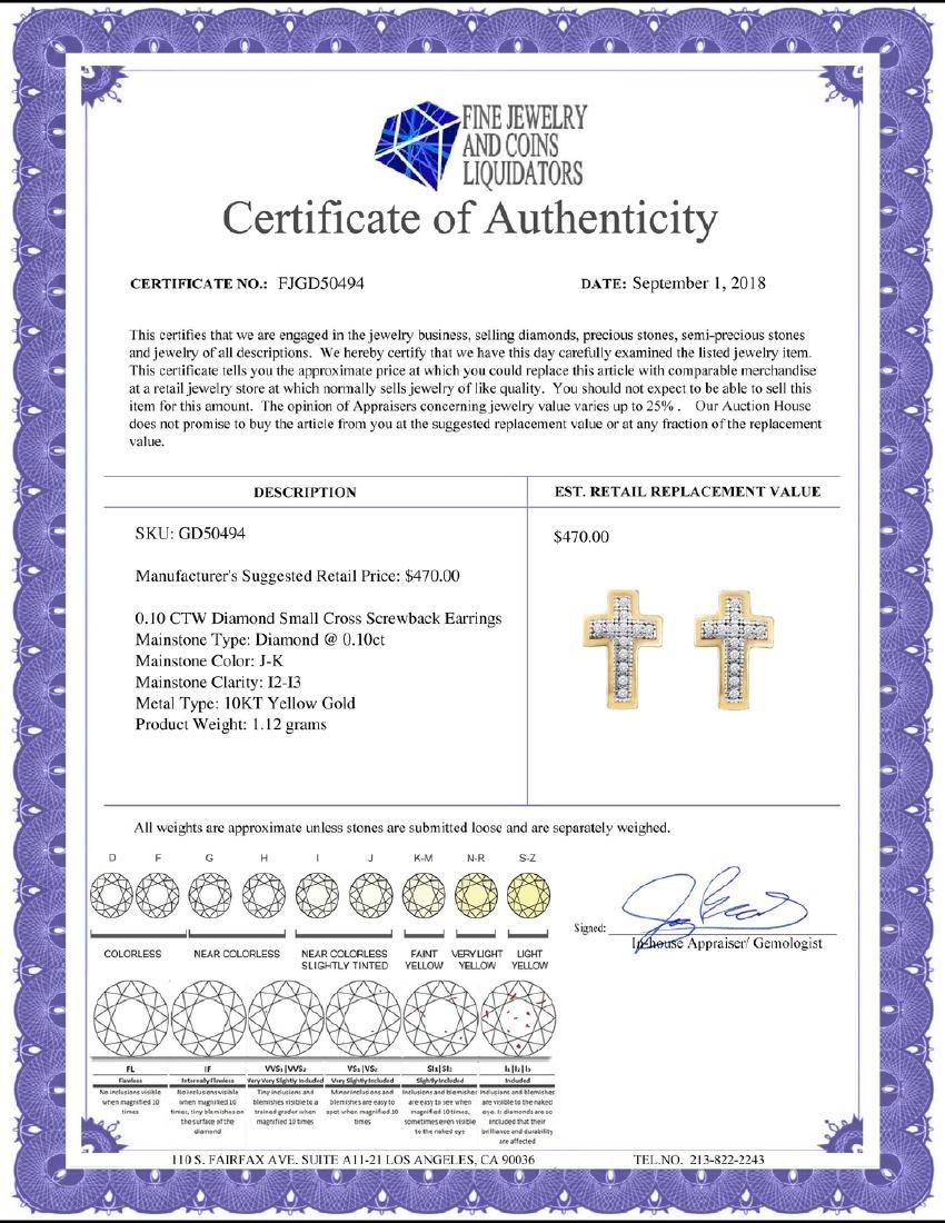 0.10 CTW Diamond Small Cross Screwback Earrings 10KT - 2