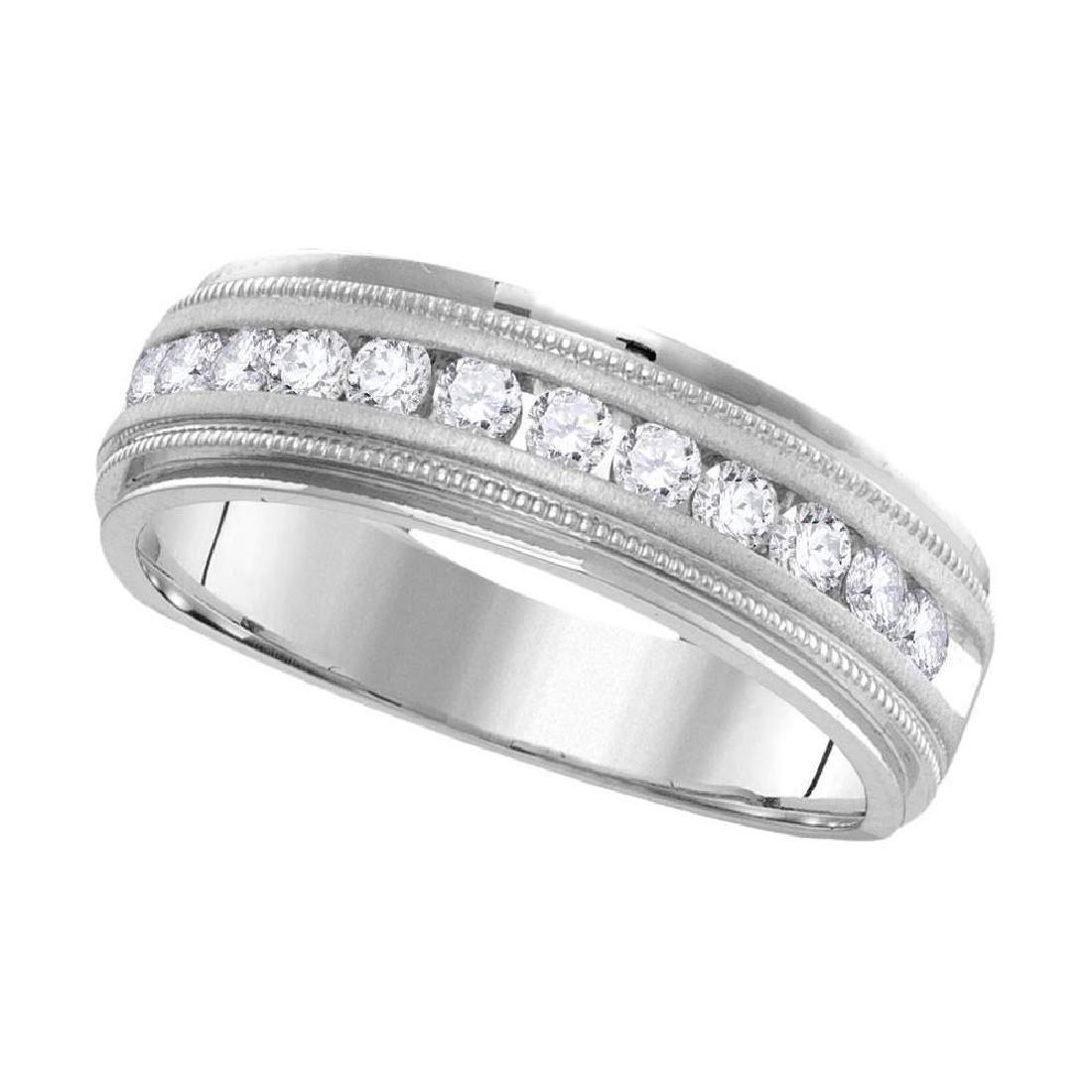 1 CTW Mens Diamond Wedding Ring 14KT White Gold -