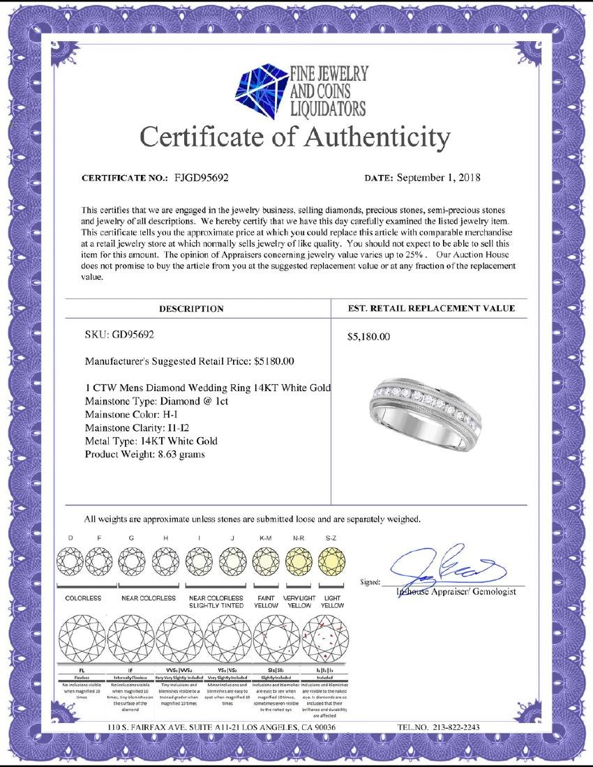 1 CTW Mens Diamond Wedding Ring 14KT White Gold - - 2