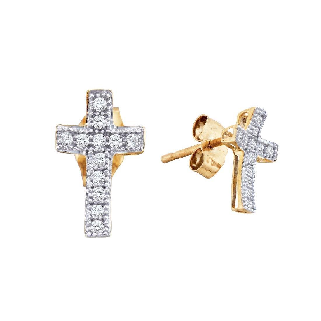 0.10 CTW Diamond Cross Earrings 10KT Yellow Gold -