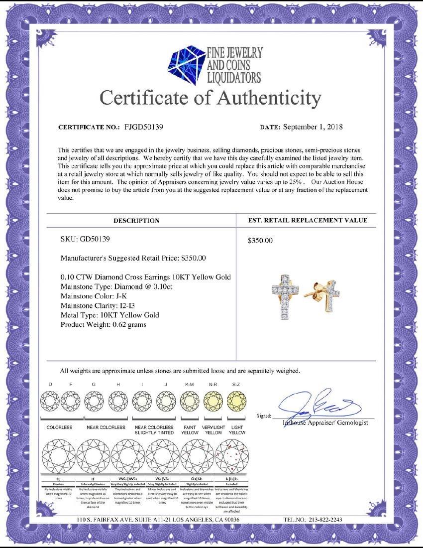 0.10 CTW Diamond Cross Earrings 10KT Yellow Gold - - 2