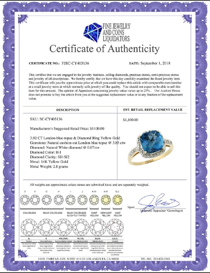 Natural 3.92 ctw London-blue-topaz & Diamond Engagement - 2