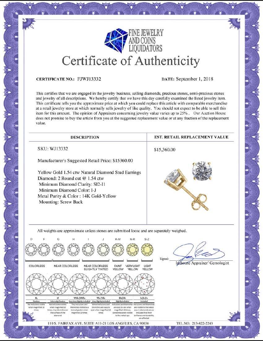 14K Yellow Gold 1.54 ctw Natural Diamond Stud Earrings - 2