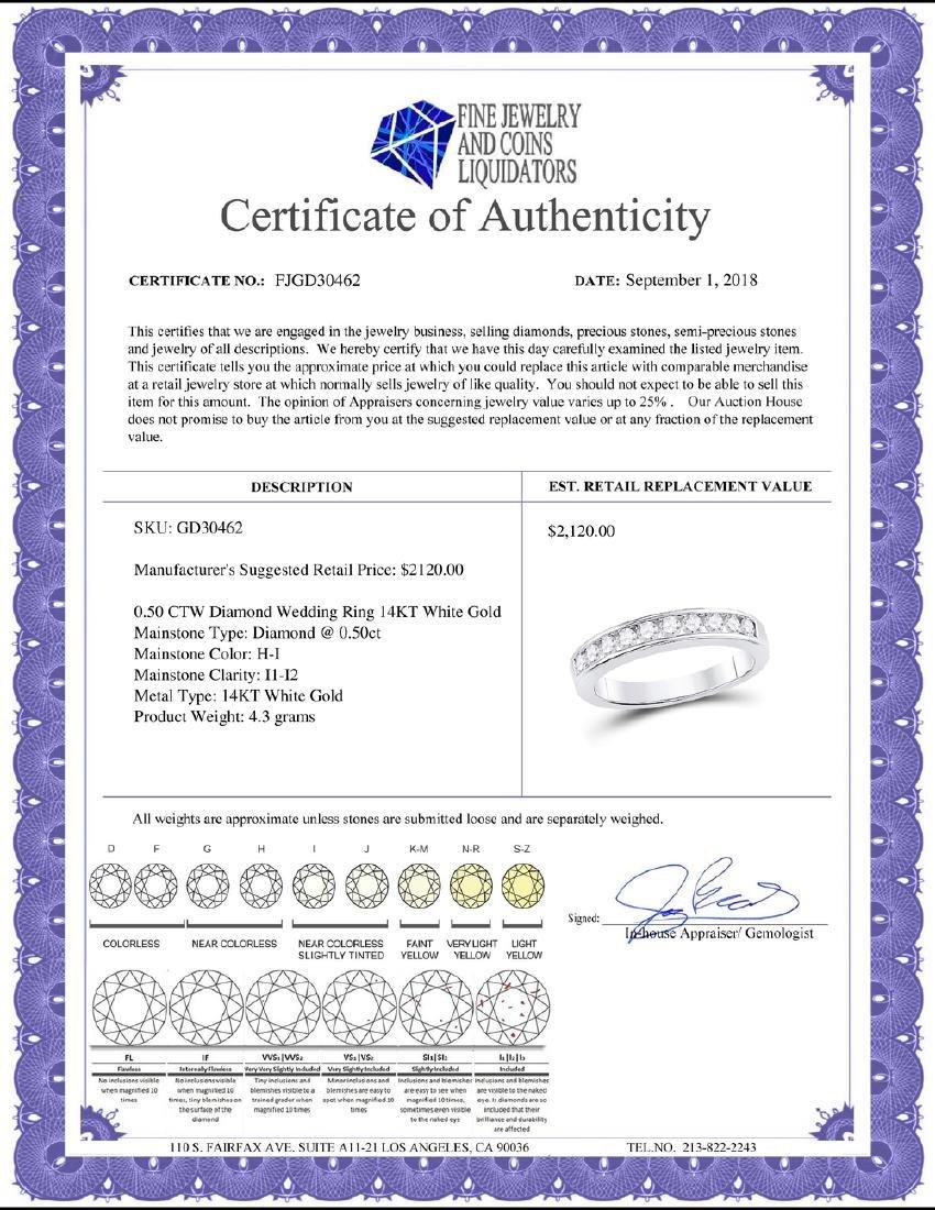 0.50 CTW Diamond Wedding Ring 14KT White Gold - - 2