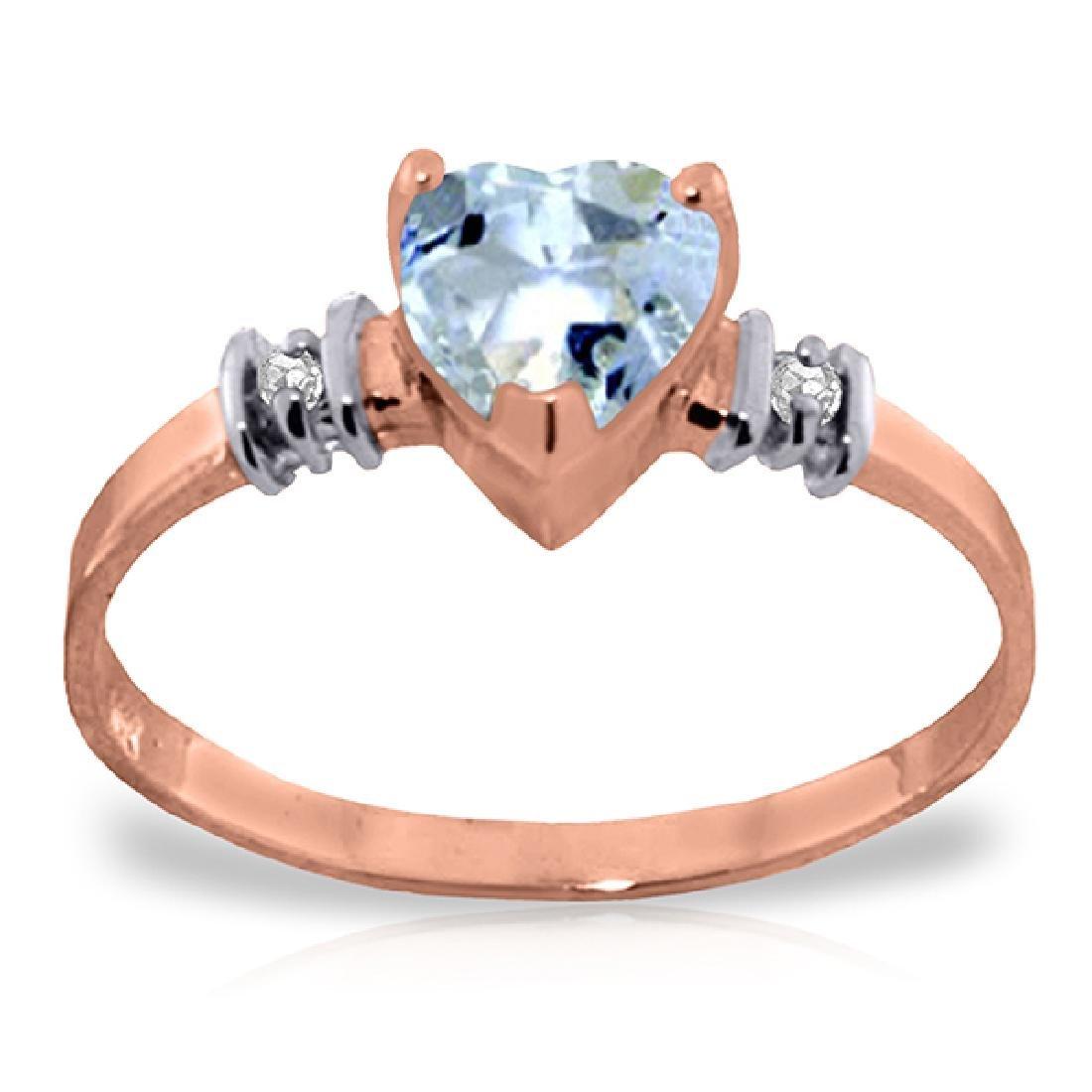 Genuine 0.98 ctw Aquamarine & Diamond Ring Jewelry 14KT