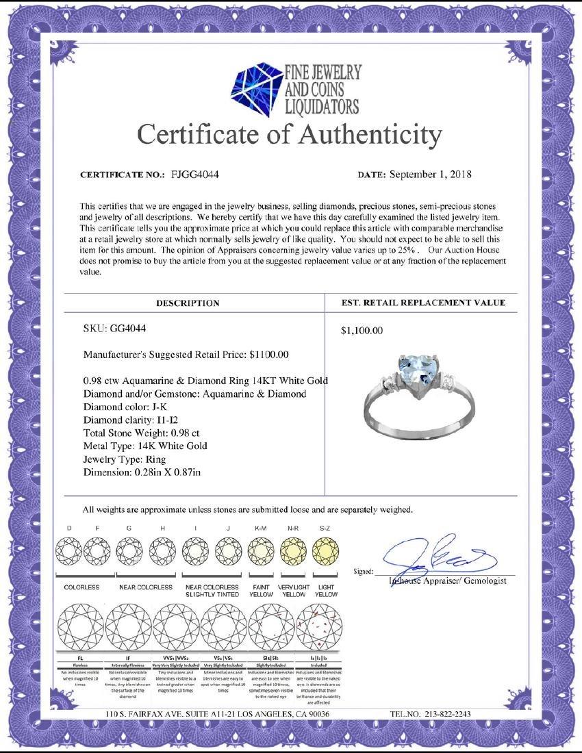 Genuine 0.98 ctw Aquamarine & Diamond Ring Jewelry 14KT - 2