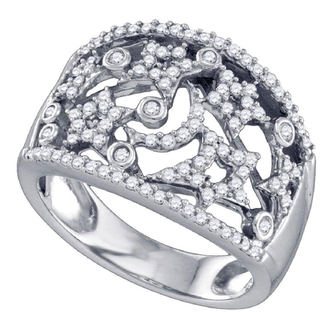 0.53 CTW Diamond Wide Star Pave-set Cocktail Ring 14K