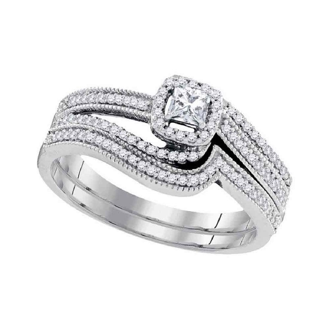 0.38 CTW Diamond Princess Bridal Engagement Ring 10KT