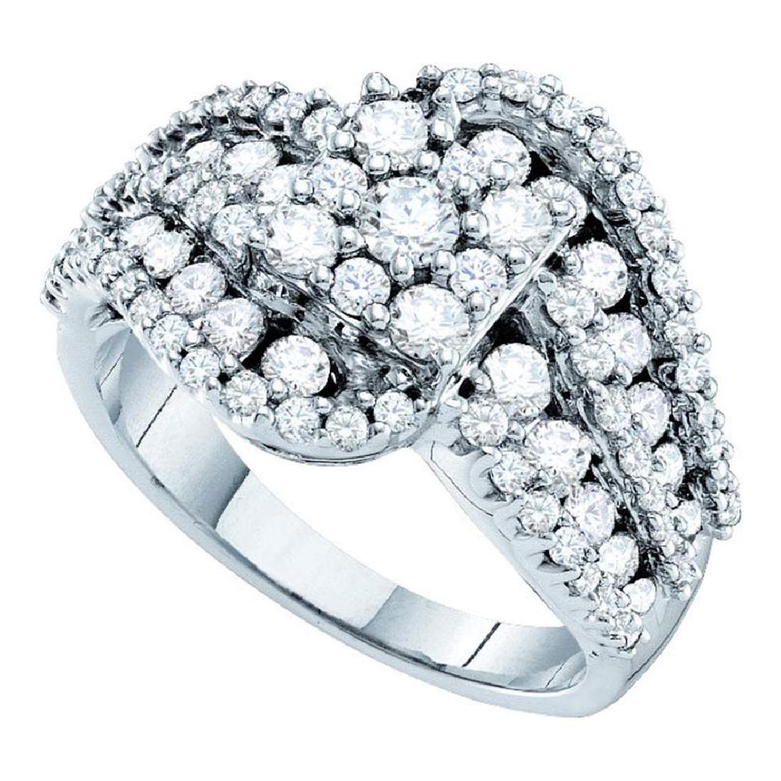 2 CTW Diamond Flower Swirl Cocktail Ring 14KT White