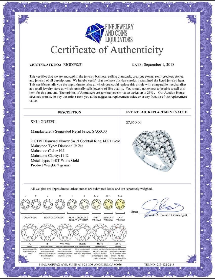2 CTW Diamond Flower Swirl Cocktail Ring 14KT White - 2
