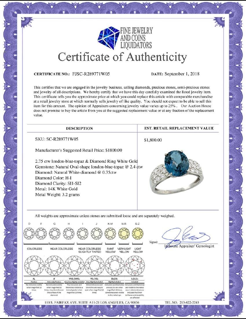 Natural 2.75 ctw london-blue-topaz & Diamond Engagement - 2