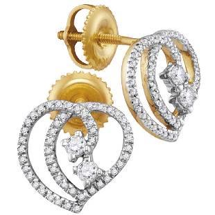 025 CTW Diamond 2stone Heart Earrings 10KT Yellow
