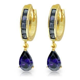 Genuine 455 ctw Sapphire Earrings Jewelry 14KT Yellow