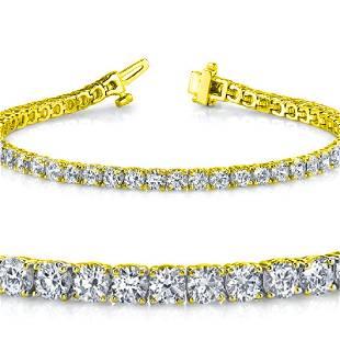 Natural 5ct VSSI Diamond Tennis Bracelet 18K Yellow
