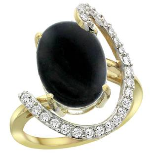 Natural 363 ctw Onyx Diamond Engagement Ring 14K