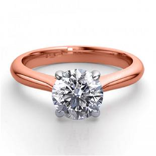 14K Rose Gold 124 ctw Natural Diamond Solitaire Ring