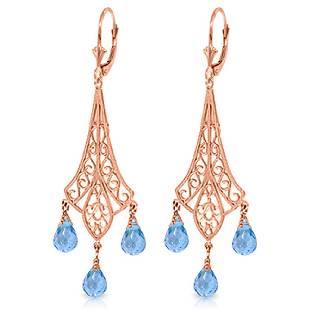 Genuine 48 ctw Blue Topaz Earrings Jewelry 14KT Rose