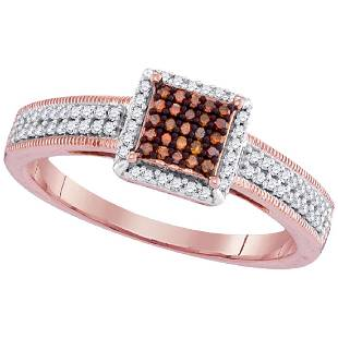026 CTW Red Color Diamond Square Cluster Ring 10KT