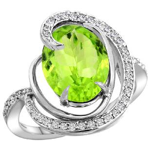 Natural 516 ctw peridot Diamond Engagement Ring 14K