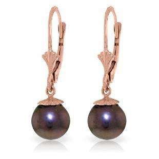 Genuine 4 ctw Black Pearl Earrings Jewelry 14KT Rose
