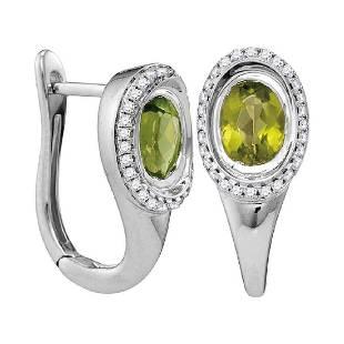 199 CTW Oval Natural Peridot Diamond Hoop Earrings