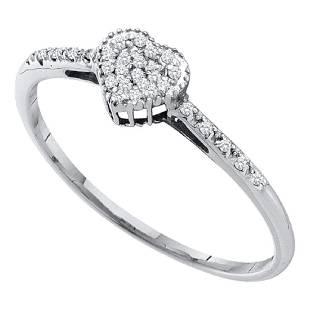 007 CTW Diamond Heart Love Ring 14KT White Gold