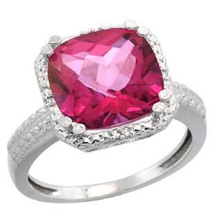 Natural 596 ctw Pinktopaz Diamond Engagement Ring