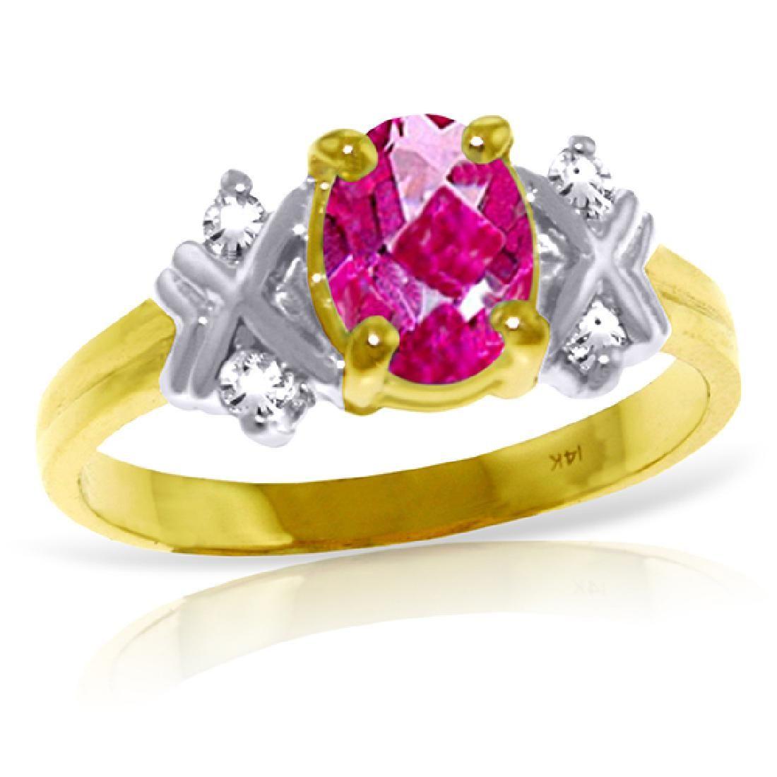 Genuine 097 ctw Pink Topaz Diamond Ring Jewelry 14KT