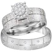 034 CTW His Hers Diamond Cluster Matching Bridal