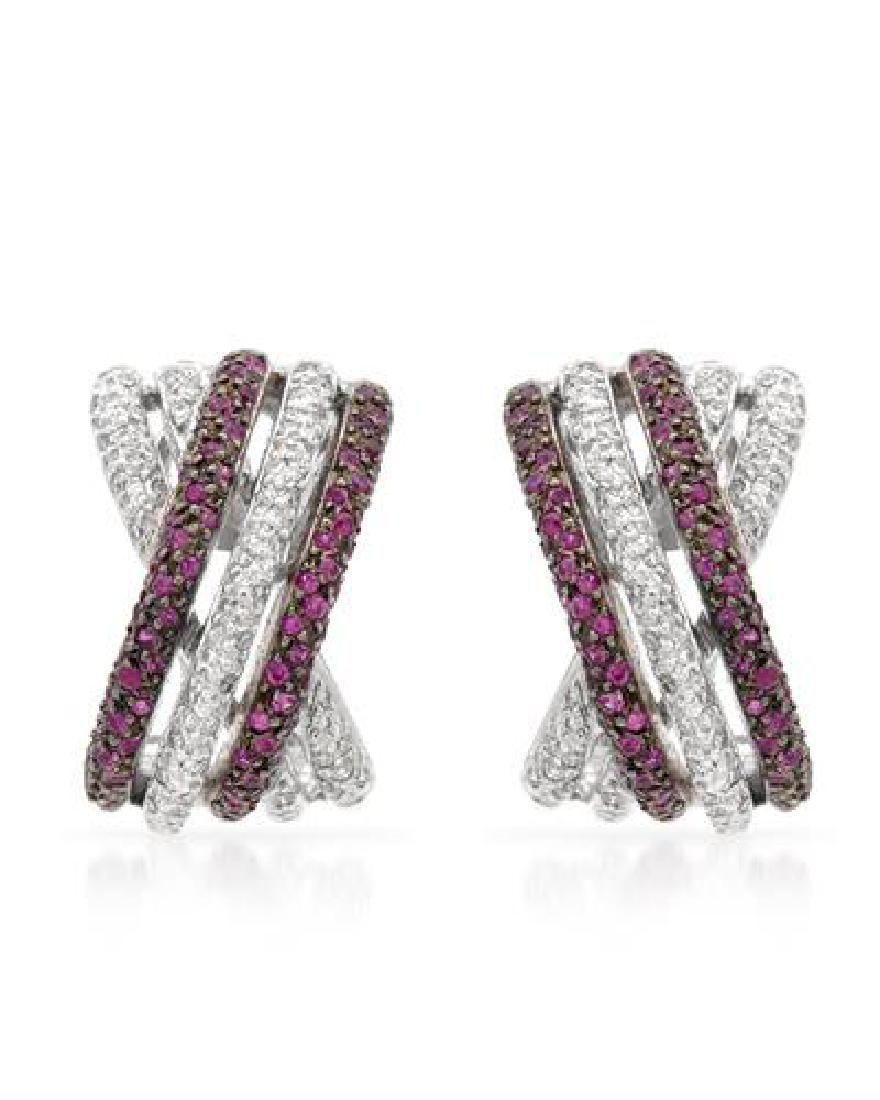 117 CTW Ruby Diamond Earrings 14K White Gold